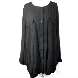 Woman Within Blouse Top Plus Size 3X Black Shirt